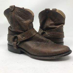 Frye Wyatt Brown Harness Distressed Leather Boots